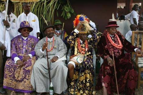 a cross section of the chiefs during the Owu aru sun festival
