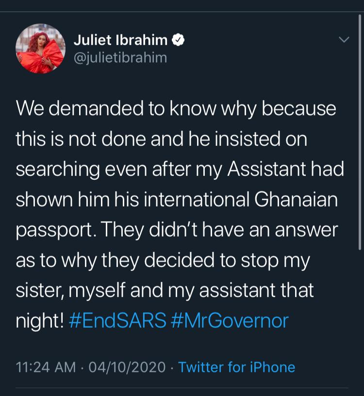 Juliet Ibrahim shares Her Encounter with SARS