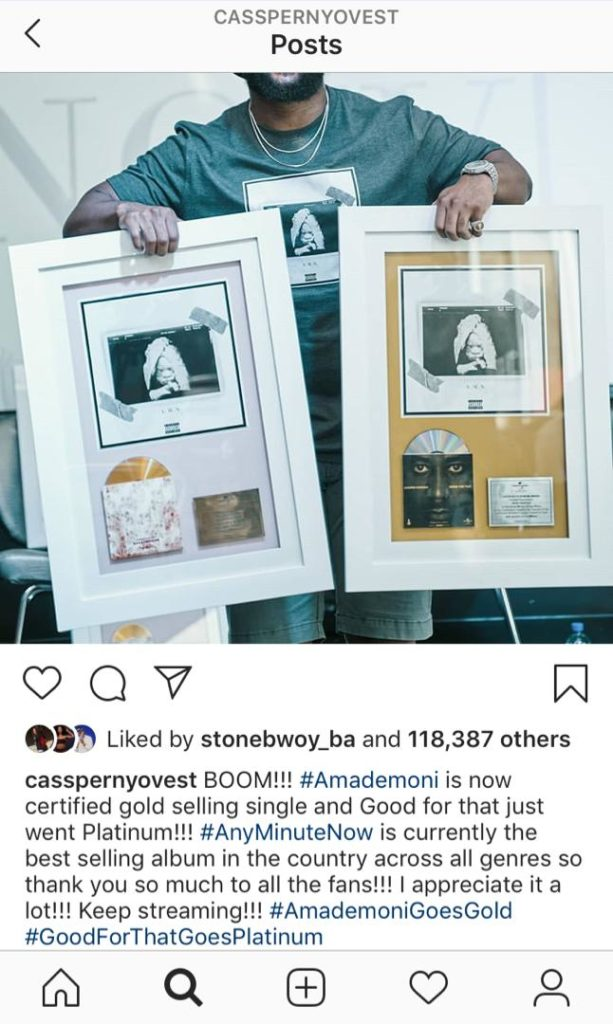 Casspers 'Any Minute Now' album is currently the best selling album